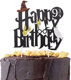 Wuree Doble Cara Brillo Negro Harry Potter Inspirado Feliz cumpleaños Cake Topper Asistente de Fiesta Suministros