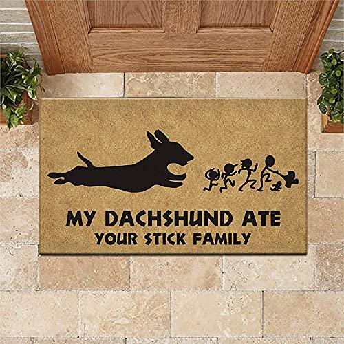 """TIANTURNM Felpudos Entrada casa Felpudo Dachshund My Dachshund Ate Your Stick Felpudo Familiar Alfombrilla de Bienvenida Decoración del hogar Alfombrilla Divertida Idea de Regalo 24""""x36"""""""