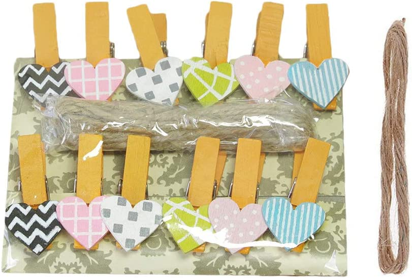 LANGUGU 50 Pcs Mini Wooden Pegs Popular overseas Clip Shape Design Heart Superlatite Ph Clips