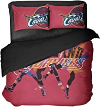 Maspt Cleveland Basketball Players Red Bed Flat Sheet Sportsmen Bedding Sets Bedspread Sets Twin Size for Teens(Queen 3pcs)