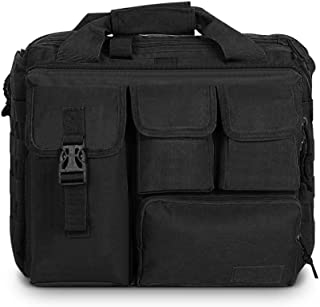 Men's Military Laptop Messenger Bag Multifunction Outdoor Tactical Briefcase Computer Shoulder Handbags (Black)