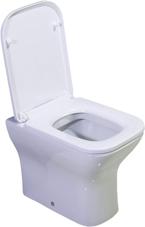 KLARA Toilet WC Back To Wall Compact Square Bathroom Heavy Duty Soft Closing Seat 460MM pan H