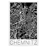 artboxONE Poster 120x80 cm Städte Retro Map of Chemnitz