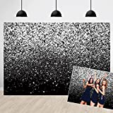 Silver Bokeh Black Backdrop Silver Glitter Bokeh Spots Birthday Party Wedding Decoration Photography Background Graduation Prom Dance Party Baby Shower Photo Booth Backdrops 7x5ft