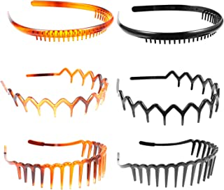 FRCOLOR 8pcs Unisex Wavy Headbands Plastic Headbands Toothed Hair Hoop Ordinary Headwear Hair Accessories for Women Men