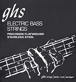 GHS Strings 4 Precision Flats, Stainless Steel Flatwound Bass Strings, 38