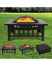 Vuurschaal vuurkorf met grillrooster en vonkenscherm, houtskoolbarbecue tuinhaard voor verwarming,bbq vuurschalen met waterdichte beschermhoes, vierkant, metaal, voor tuin, erf, terras,81x81x45cm