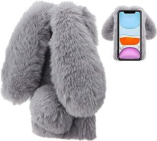 Konijn Hoes voor iPhone 11 6,1 Inch, LCHDA Pluizig Schattige Kunstmatig konijnenbont Haar Leuk Lange Oren Pluche Zacht Har...