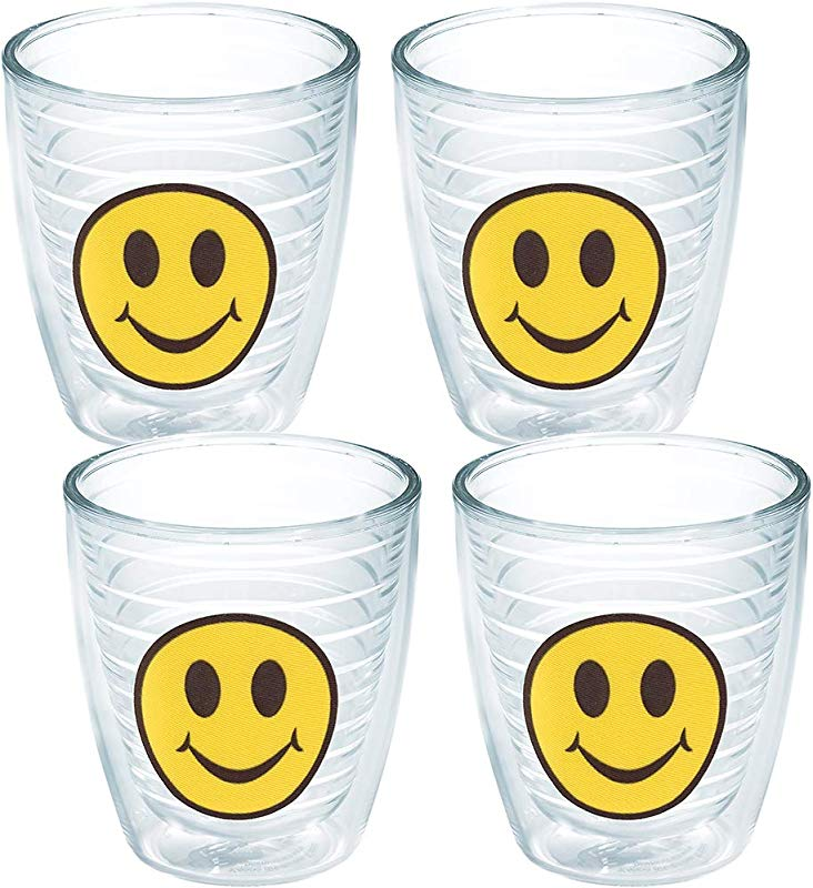 Tervis 1019314 Smiley Face Tumbler With Emblem 4 Pack 12oz Clear