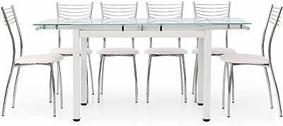 Fashion Commerce FC608V - Mesa de Metal, Blanco, 110 x 70 x 76 cm ...