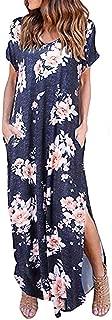 Women's Casual Loose Pocket Long Dress Short Sleeve Split Maxi Dresses Summer Beach Long Dress by Chaofanjiancai