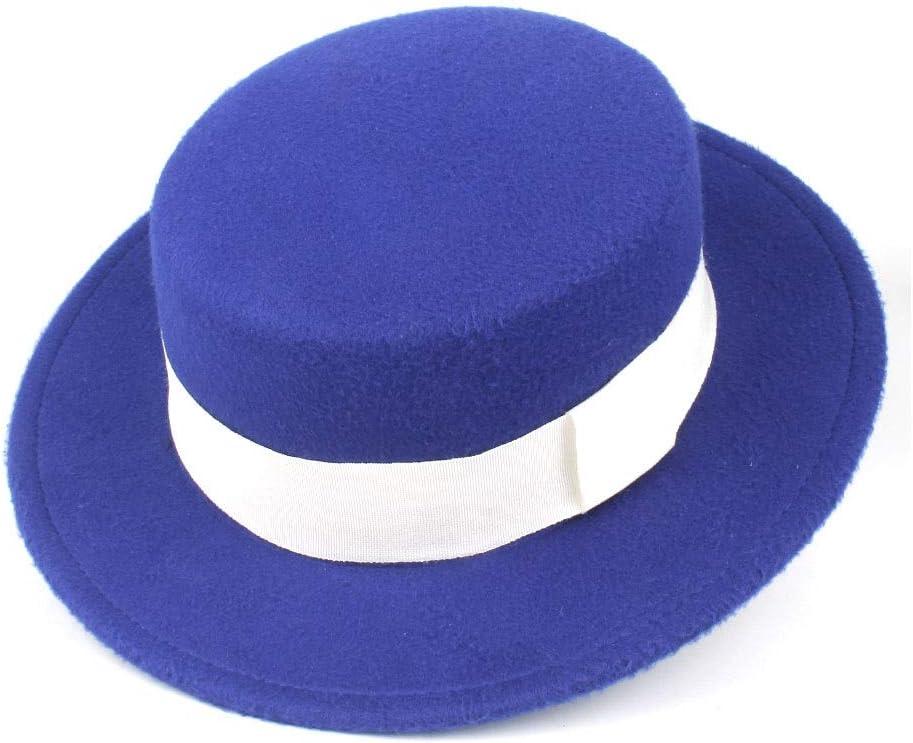LIRRUI Authentic Men Women Fashion Flat Top Hat Wide Brim Fedora Hat Church Hat Wool Trilby Hat Size 56-58CM (Color : E Blue, Size : 56-58)