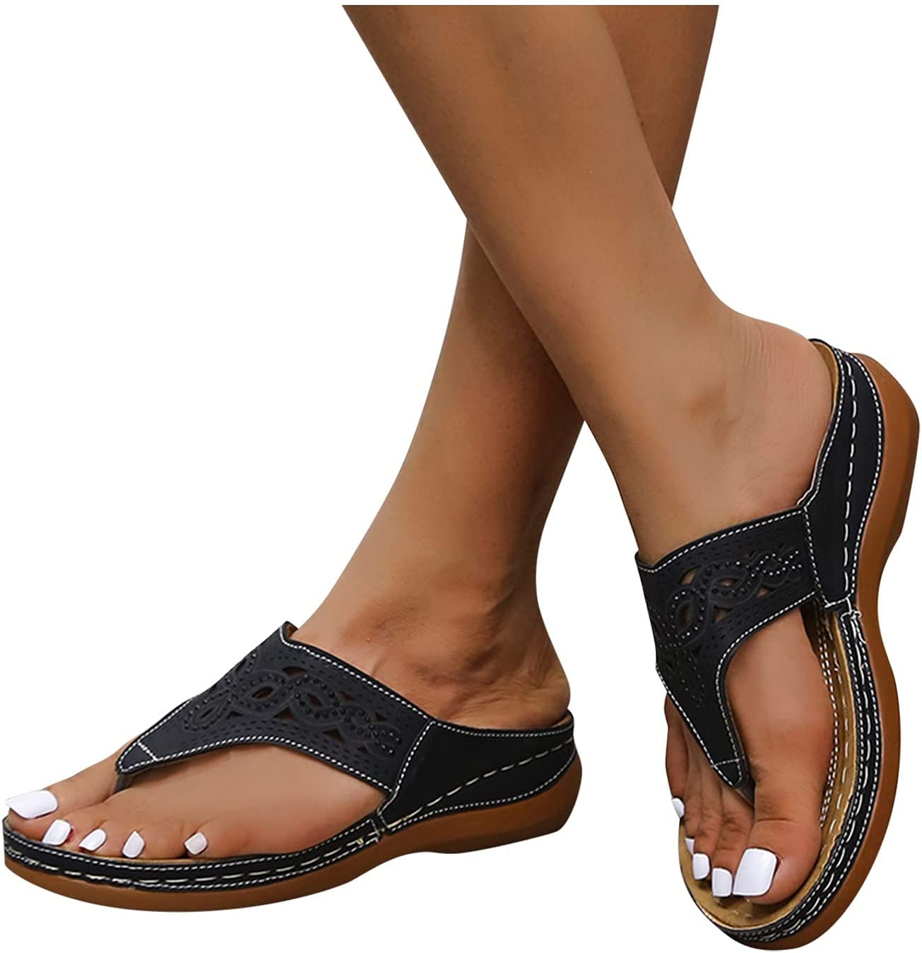 Olymmont Women's Slip On Sandals Casual Summer with Arch Support Flats Hollow Out Open Toe Breathable Slides Soft Comfortable Dressy Trendy Slippers (Black, 9.5-10)