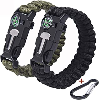Upgraded Version of The Tactical Umbrella Rope Bracelet,  Lengthened Bold 5-in-1 Multi-Function Outdoor Equipment,  The Ultimate Tactical Kit. Suitable for Hiking,  Camping,  Fishing and Hunting