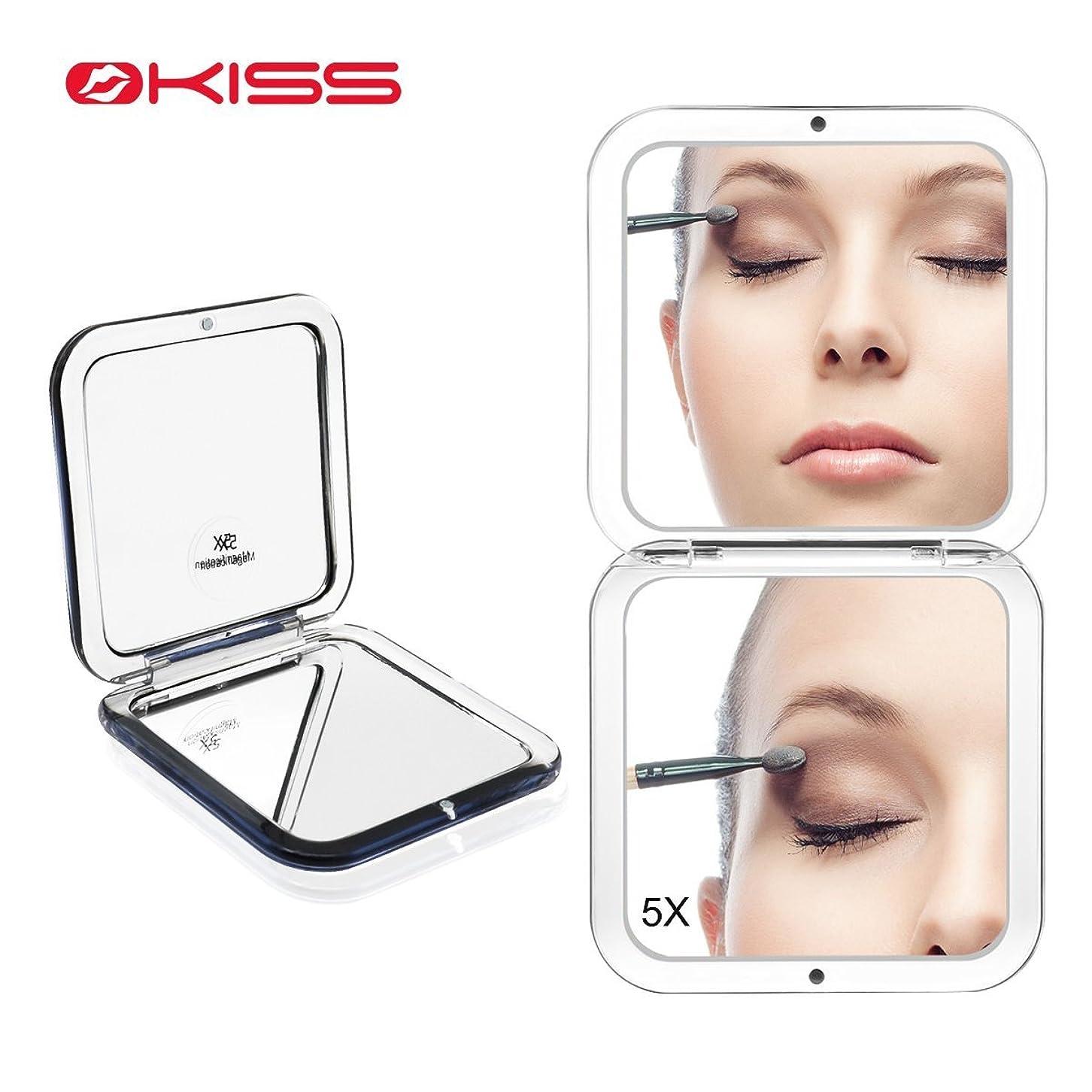 管理する杭推進力OKISS コンパクトミラー 化粧鏡 ミラー 5倍拡大鏡+等倍鏡 ハンドミラー 手鏡 両面 メンズ 携帯ミラー 折りたたみ おしゃれ 外出 持ち運び便利
