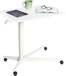 """Seville Classics AIRLIFT 30"""" Gas-Spring Height-Adjustable Overbed Mobile Medical Bedside Table Cart for Hospitals and Home..."""