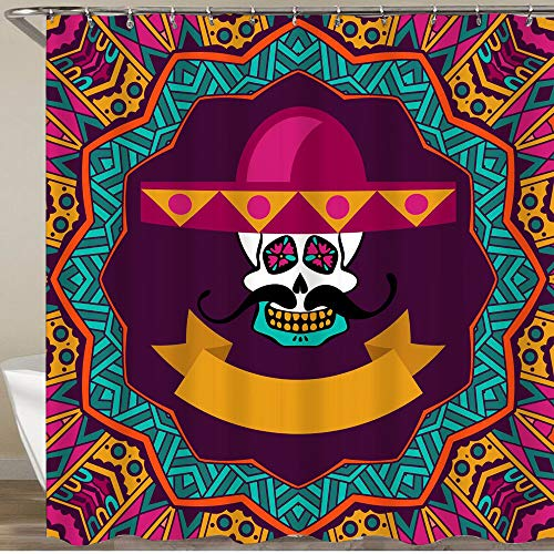 MEJAZING Shower Curtain,Day of The Dead Doodle Sugar Skull with Mustache and Sombrero,Polyester Fabric Waterproof Bath Curtains Hooks Included - 72 X 72 Inches