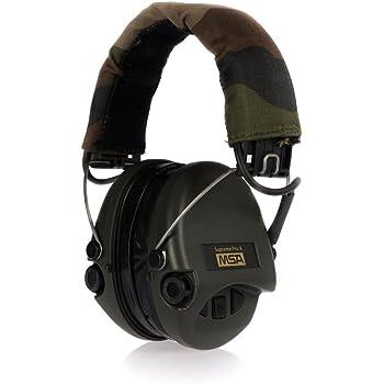 MSA Sordin Suprême Pro X - Sedan Protection auditive professionnelle, incl. super confortable Coussin de gel / Modèle: Bande de camouflage englobant, entre autres, vert Tasses / entrée auxiliaire