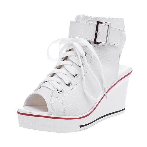 5b7f25964c6 Women s Canvas High-Heeled Platform Wedge Fashion Sneaker Pump Shoes