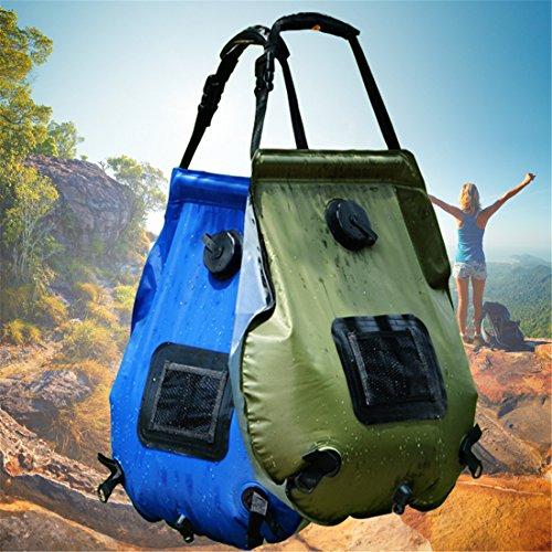 CFtrum Bolsa Ducha Solar 20L PVC Plegable Portátil para Camping Excursión Al Aire Libre Color Verde