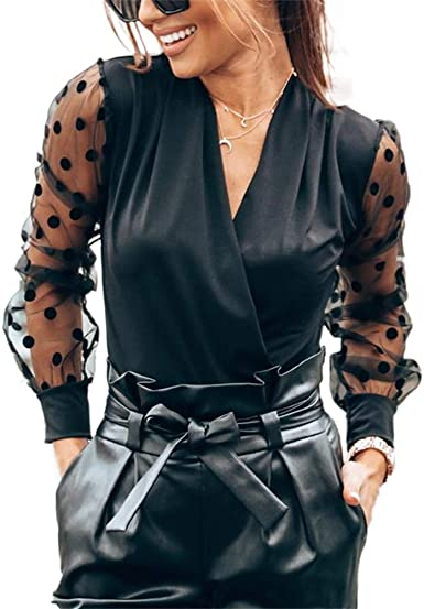 Blusa Negra Top Mujer Casual Sexy Escote en V Profundo con Mangas Largas en Tul de Lunares