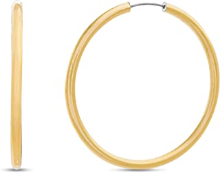 Steve Madden Yellow Gold Tone Endless Hoop Earrings for Women