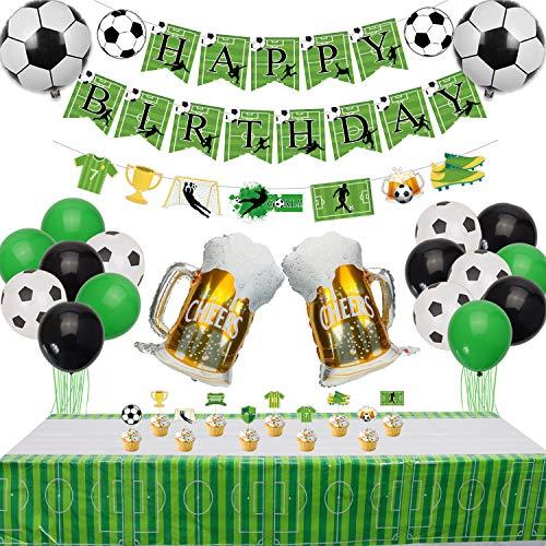 Decoraciones de Fiesta de Fútbol - Banners de HAPPY BIRTHDAY de Tema de Fútbol, 1 Mantel, 10 Adornos para Tartas y 19 Globos para Fiesta de Cumpleaños de Niños y Aficionados al Fútbol