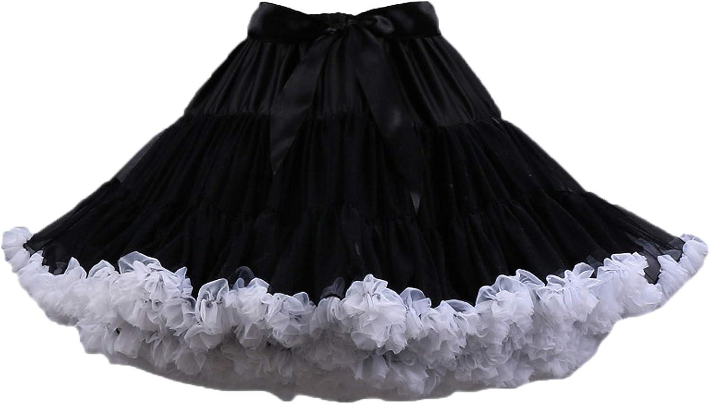 URVIP Women's Elastic Waist Chiffon Pettiskirts Puffy Tutu Tulle Princess Skirt