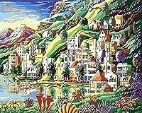 大人のための数字で描くDIY油絵DIYキャンバスアクリル油絵キットホームウォールアート-家の油絵16x20インチフレームレス