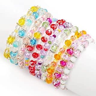 Friendship Bracelets for Kids, Crystal Beaded Bracelets, 10 PC, Princess Charm Bracelet