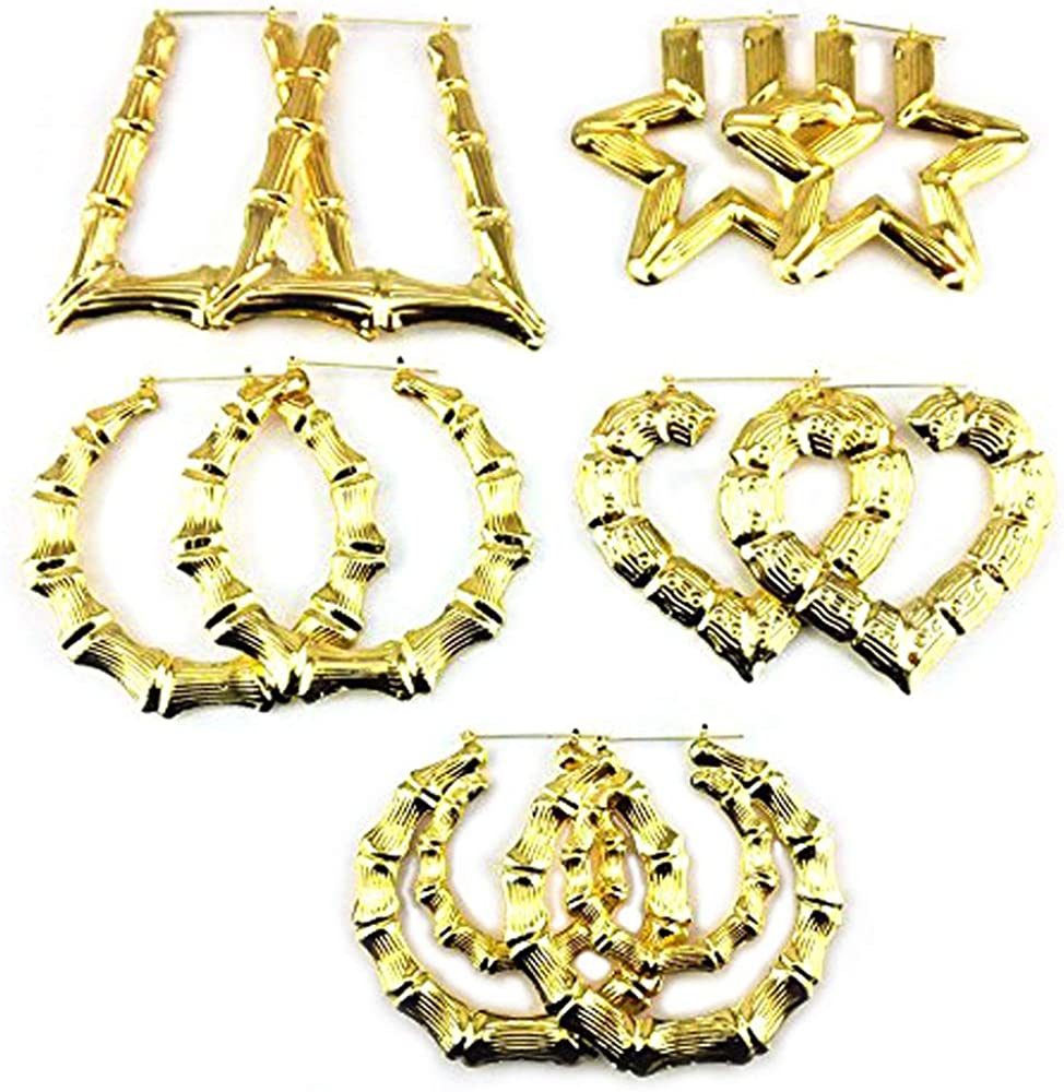 Honbay 5 Pairs Boho Style Different Shape Big Bamboo Hoop Earrings (Gold)