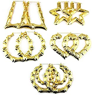 Honbay 5 Pairs Different Shape Bamboo Hoop Earrings (Gold)