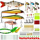 CharmYee Fishing Lures Baits Tackle Kit Set Including Multi Jointed swimbaits, Spinnerbaits, Topwater Lures, Plastic Worms, Jigs,Minnow,Vib and More Fishing Gear for Bass,133Pcs Fishing Lure Tackle