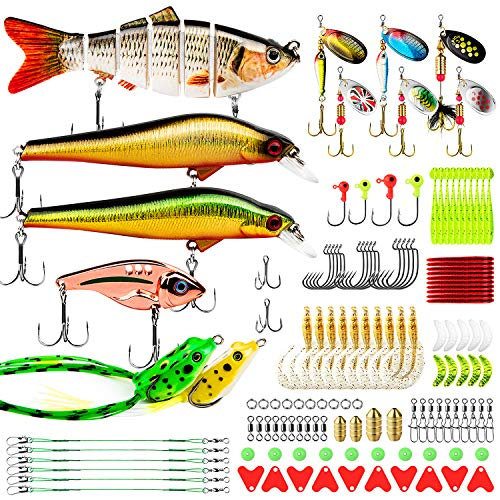 CharmYee Fishing Lures 133Pcs Baits Tackle Kit Set Including Multi Jointed swimbaits, Spinnerbaits, Topwater Lures, Plastic Worms, Jigs,Minnow,Vib and More Fishing Gear for Bass, Fishing Lure Tackle
