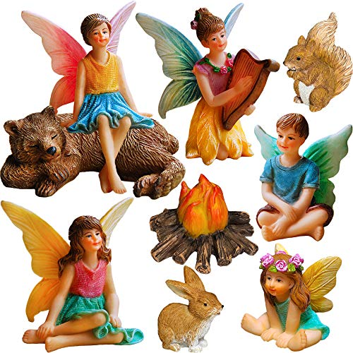 Fairy Garden - Miniature Fairies Figurines Accessories - Camping Kit of 9 pcs - Set for Outdoor or House Decor