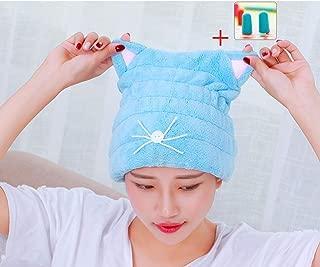 Microfiber Hair Drying Towels, Cute Bath Towel Wrap, Ultra Soft Absorbent Hair Dry Hat Cap, Quick Drying Bath Cap for Women Adults or Kids Girls (Blue)