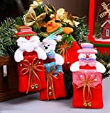 Christmas Ornaments 4 PCS Christmas Tree Hanging Decorations Home Santa Snowman Adornment Xmas Tree Pendants Small Mini Gift Bags for Candy&Cookies
