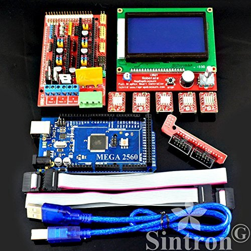 Sintron] 3D Printer Controller Kit RAMPS 1.4 + Mega 2560 R3 + 5pcs A4988 Stepper Motor Driver with Heatsink + LCD 12864 Graphic Smart Display Controller with Adapter For Arduino RepRap (3D-Kit-12864)