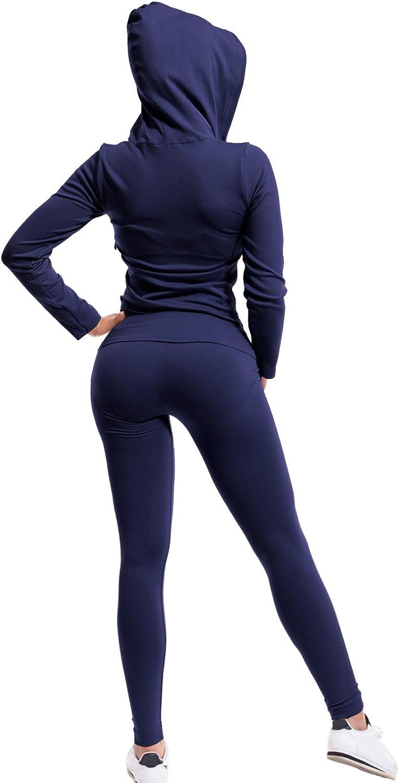 MixMatchy Womens Solid Zip Up Hooded Jacket & Leggings Set Sports ...