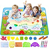 Koviti Aquadoodle Mat 2019 Updated Version, Water Doodle Mat Toy with 20 Drawing Kits, Large Aqua Magic Mat Educational Toys Gifts for 2 3 4 5 6 7+ Year Old Toddlers Kids Girls Boys 39.3'' X 27.5''