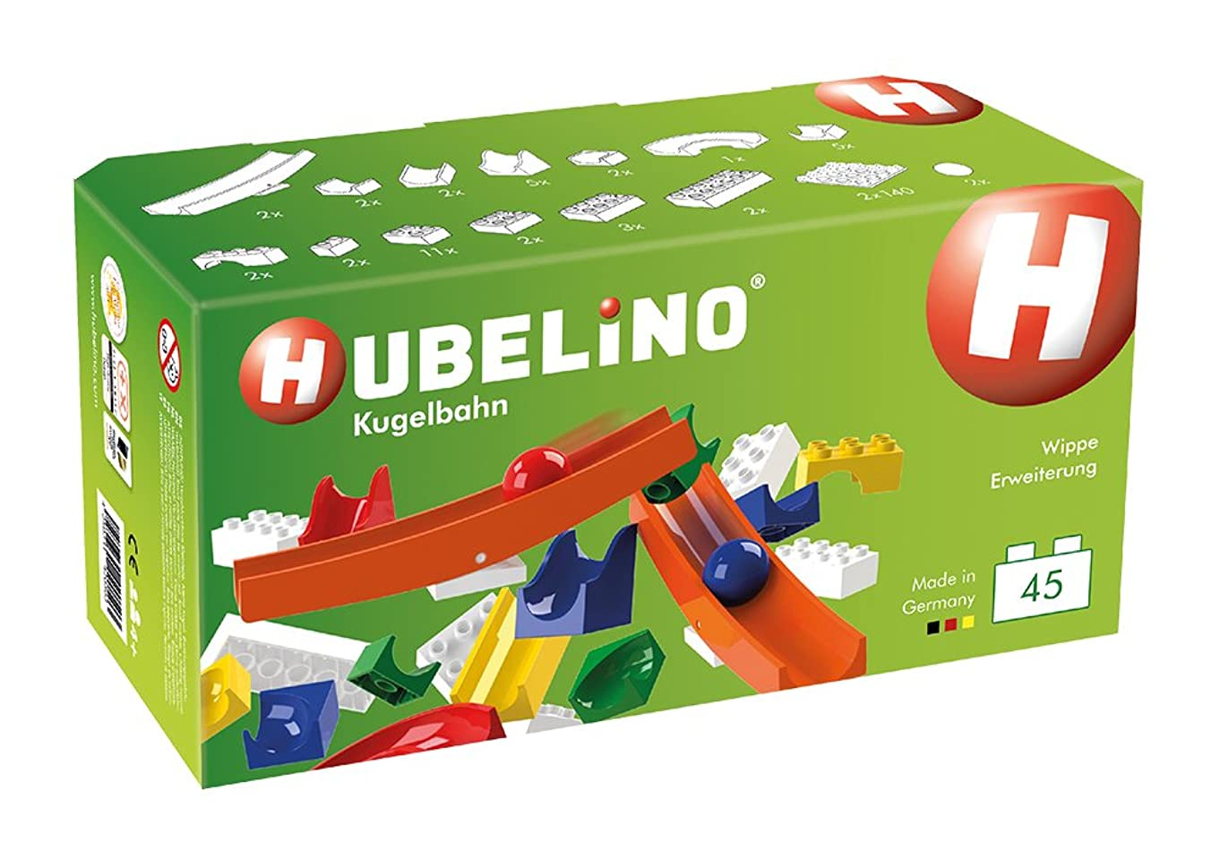 Hubelino Marble Run - 45-Piece See-Saw Expansion Set - The Original! Made in Germany! - Certified and Award-Winning Marble Run - 100% Compatible with Duplo