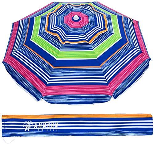 AMMSUN 6.5 ft Outdoor Patio Beach Umbrella Sun Shelter with Tilt Air Vent Carry Bag for Garden Beach OutdoorMulticolor Red Green
