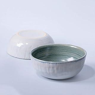 Cuenco de cerámica rústico hecho a mano decoración del hogar esmalte gris claro y turquesa texturizado