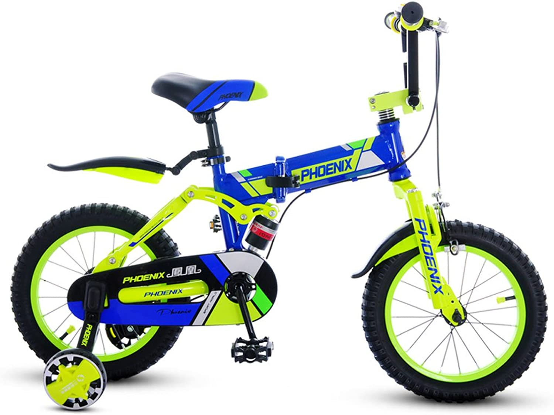 garantizado XXHDYR Bicicletas para Niños Niños de 5-9 5-9 5-9 años de Edad Bicicleta Bicicleta Cochecito Plegable 18 Pulgadas Niños Bicicleta de Montaña Naranja (Color   azul)  mejor precio