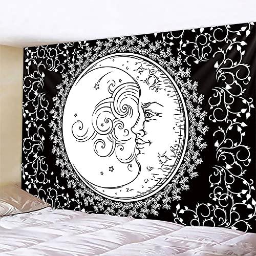 PPOU Blanco Negro Sol Luna Mandala Tapiz Colgante de Pared brujería Hippie Tela de Fondo Manta de Pared A10 73x95cm