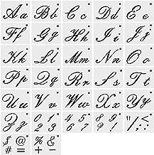 Tanersoned 36 St/ück Briefschablonen Alphabet Schablonen Wiederverwendbare Kunststoff Kunsthandwerk Schablonen mit Zahlen und Zeichen Alphabet Vorlagen