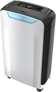 OULUN Compact 20 pint Portable Dehumidifier with Humidity Sensor, Timer, 2 Speed Settings & Auto Shut Off. Ideal For Home Or Office
