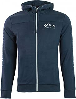 Cotton-Blend Zip-Through Hoodie with Curved Logo 50418944 416