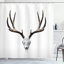 Ambesonne Antlers Shower Curtain, Deer Skull Skeleton Head Bone Halloween Weathered Hunter Theme Motif, Cloth Fabric Bathroom Decor Set with Hooks, 70