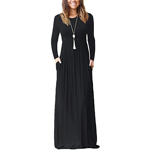 16f6de86346 AUSELILY Women Long Sleeve Loose Plain Maxi Dresses Casual Long Dresses  with Pockets